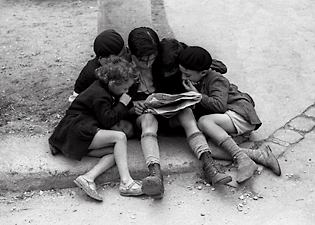 Children Reading Newspaper Paris 1936